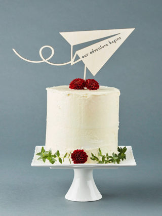 Paper Airplane Adventure Wooden Cake Topper