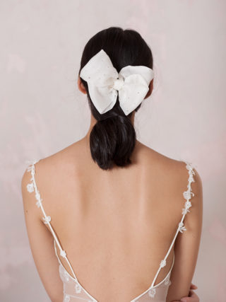 Crystal and Pearl Silk Bow