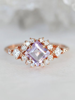 Lavender Amethyst Ring with Diamond Clusters