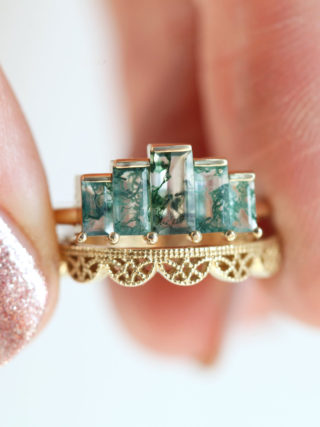 Art Deco Moss Agate Ring Set