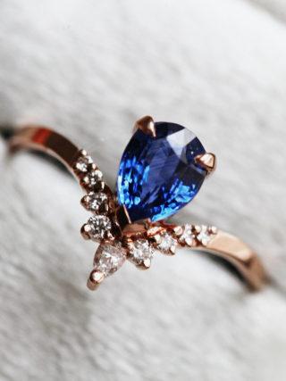 Pear Blue Sapphire Diamond Ring