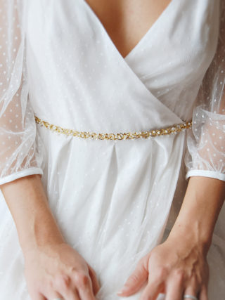 White Beaded Vine Belt