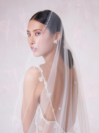 Embroidered Mantilla Veil with Crystal Leaves