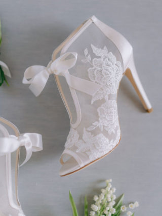 Nikki Ribbon Tie Lace Embroidered Bootie