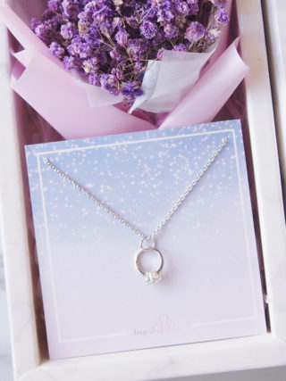 Dainty Engagement Ring Necklace With Mini Eternal Bouquet Gift Set