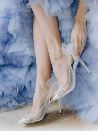 Pearl Slingback Wedding Heel with Bow