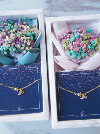 Moon and Star Bracelet Double Gift Set with Mini Eternal Bouquet