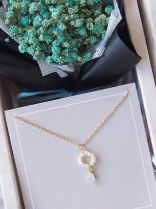 Pearl Hoop Drop with Mini Eternal Bouquet Gift Set
