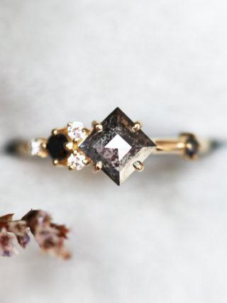 Salt Pepper Square Diamond Ring