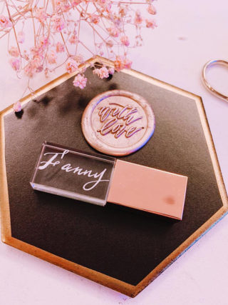 Personalized Hand-Lettered Rose Gold Artisan USB