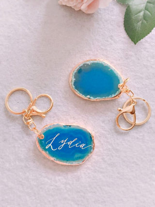 Personalized Hand-Lettered Agate Keychain