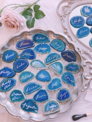 Personalized Hand-Lettered Fine Art Agate Escort Place Cards