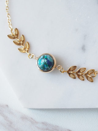 Turquoise Earth with Golden Leaf Bracelet