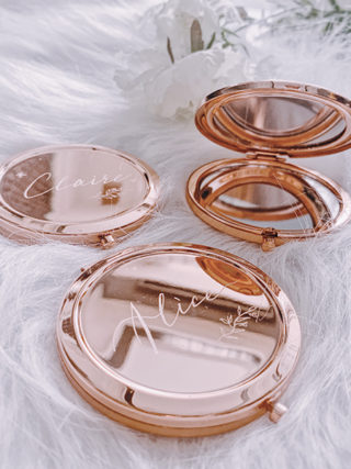 Personalized Engraved Rose Gold Compact Mirror