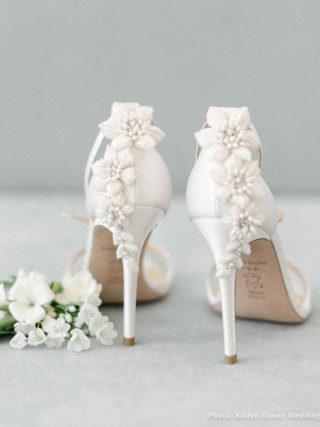 Gardenia 3D Floral Ivory Pearls Wedding Heel