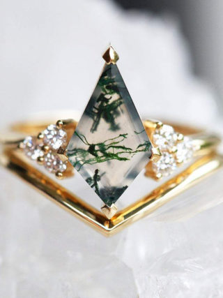 Moss Agate Diamond Ring Set