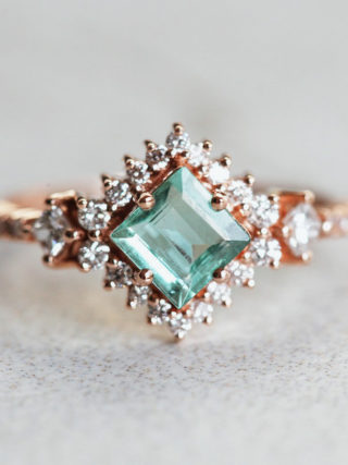 Paraiba Tourmaline Princess Cluster Ring Engagement Ring Alternative