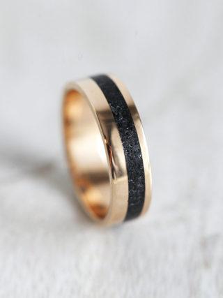 Unisex Black Spinel Gold Wedding Band