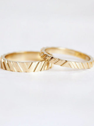Modern Textured Gold Wedding Band Set