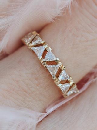 Modern Triangle Diamond Half Eternity Ring
