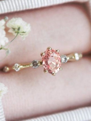 Oval Pastel Peach Sapphire Ring