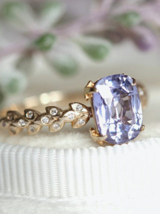 Lavender Sapphire Ring with Gold Diamond Leaf Band Engagement Ring Alternative
