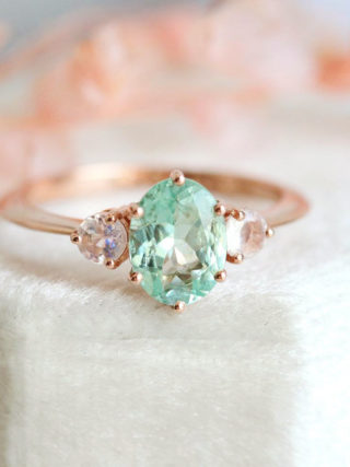 Mint Paraiba Tourmaline Moonstone Engagement Ring