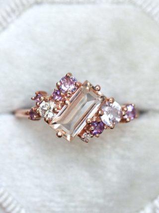 Lavender Morganite Sapphire Cluster Ring