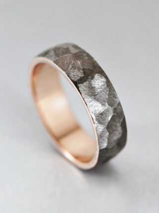 Hammered Brushed Men's Wedding Band