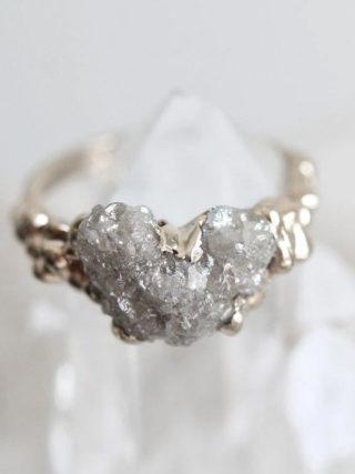 Heart-Shape Raw Diamnond Ring