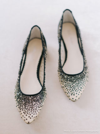 Ariel Sequin Black Evening Flats
