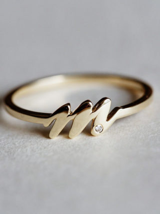 Gold Initial Diamond Ring