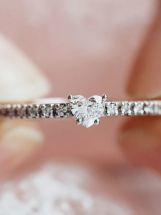 Dainty Diamond Heart Half Eternity Ring