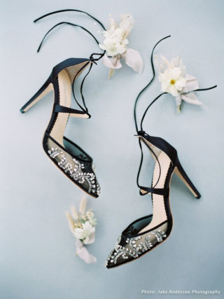 Florence Black Embellished Crystal Wedding Heels