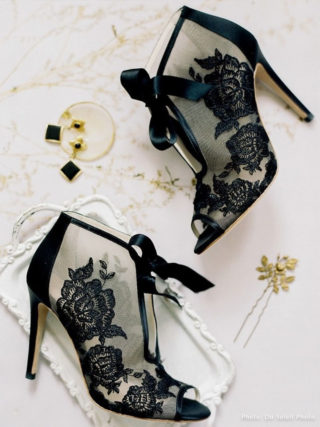 Nikki Black Ribbon Tie Lace Embroidered Bootie