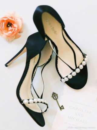 Pearlin Pearls And Silver Plated Black Evening Heel