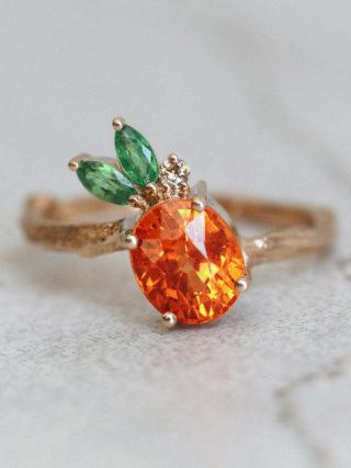 Pineapple Mandarin Garnet Ring