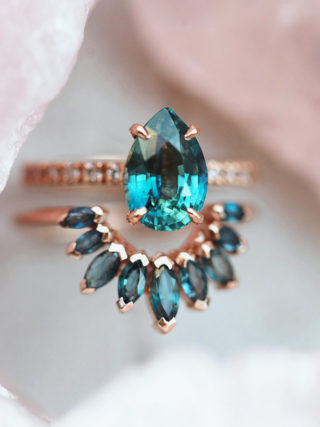 Teal Sapphire Crown Ring Set