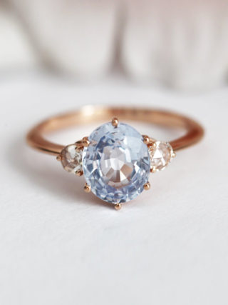 Pastel Blue Sapphire Ring with Rose Cut Diamonds