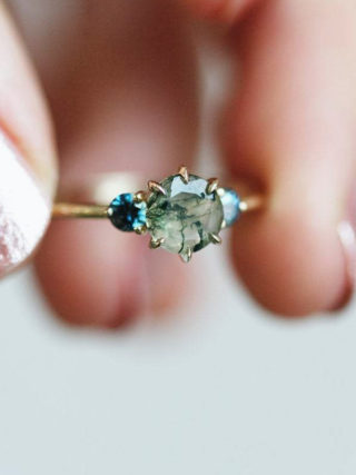 Round Moss Agate with Teal Sapphires Three-Stone Ring