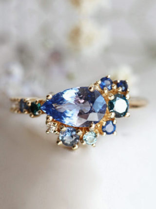 Blue Sapphire Cluster Engagement Ring