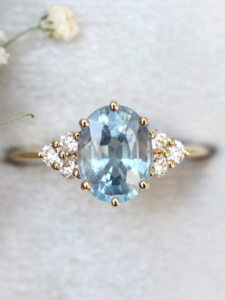 Oval Sky Blue Sapphire Engagement Ring