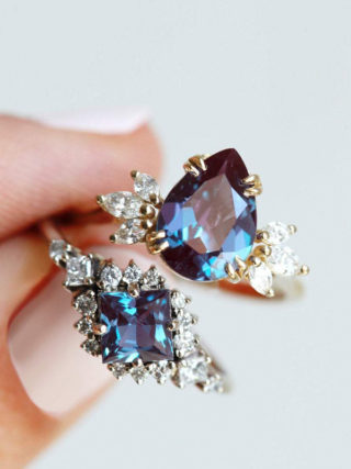 Pear Chatham Alexandrite Engagement Ring