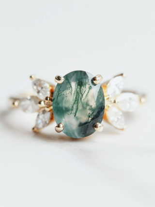 Meghan Oval Moss Agate Ring with Moissanites