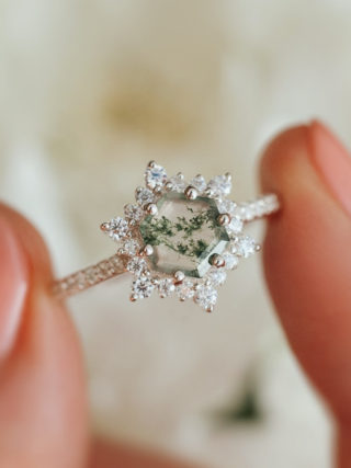 Snowflake Hexagon Moss Agate Ring with Moissanites