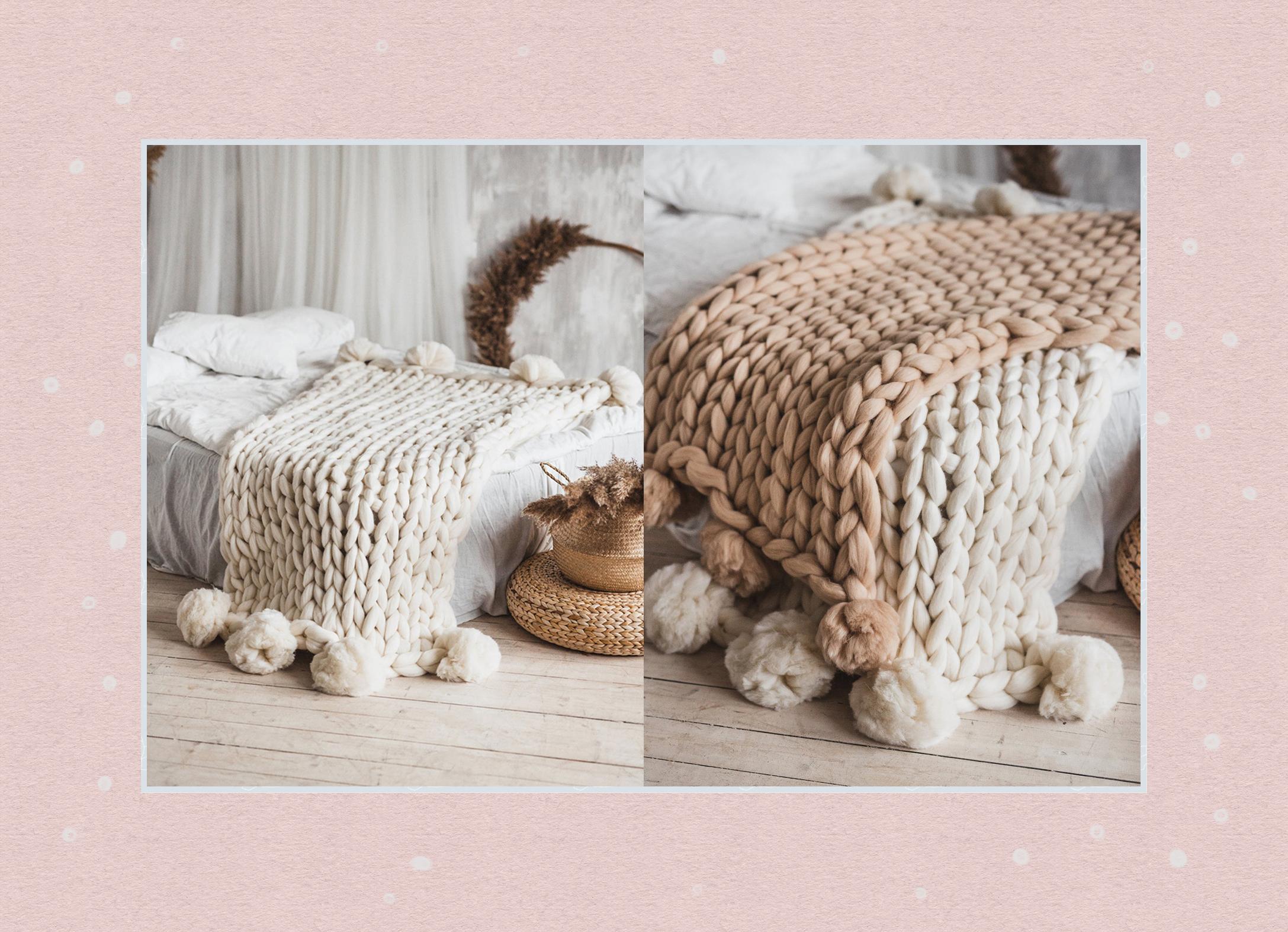 PomPom Chunky Knit Blanket
