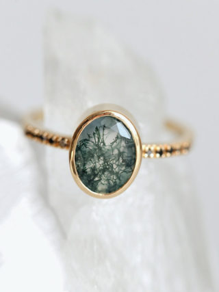Oval Moss Agate and Black Diamond Half Eternity Ring