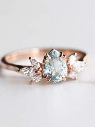 Pastel Mint Pear Sapphire Diamond Ring
