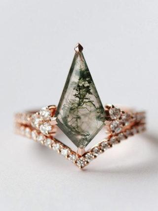 Geometric Moss Agate Chevron Diamond Ring Set