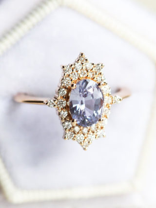Vintage-Inspired Pastel Lavender Sapphire Ring
